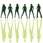 Six girl posing silhouette — Stock Vector