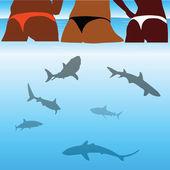 Shark and beauty bikini girl — Stock Vector