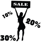 Sale sign with girl vector — Stock Vector