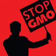������, ������: Man with the slogan stop gmo
