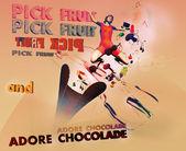Poster meyve ve çikolata — Stok fotoğraf