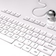 3D Keyboard on white background and connection with the world, silver globe — Stock Photo #19770419
