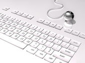 3D Keyboard on white background and connection with the world, silver globe — Foto de Stock