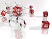 Red cubes with barcodes — Stock Photo