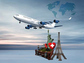World map on the background of the airplane — Stock Photo