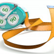 Stock Photo: Fitness tape. Weight loss concept