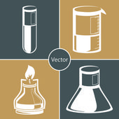 Science set. Chemical laboratory flask, tube. — Stock Vector