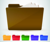 Folder icon set. Vector illustration — Stock Vector