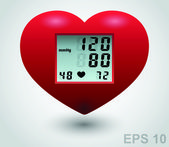 Red medical heart monitor. Vector sign — Stock Vector