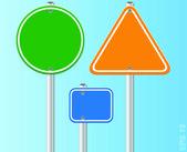 Set of traffic road signs. Vector illustration — Stock Vector