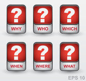 Question mark icon set. Vector buttons: why, who, which, when, w — Stock Vector