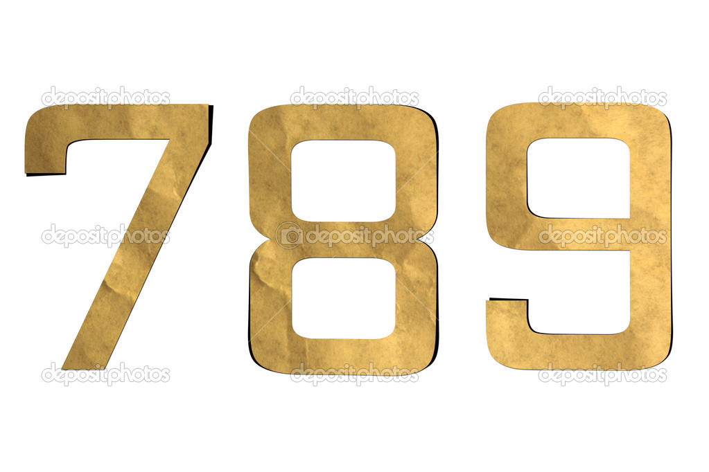 Number recycled paper craft stick on background ( 7 8 9 )  Stock Photo #12310091