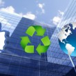 Thumb up recycling arrows and blue earth — Stock Photo