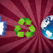 Thumb up recycling arrows and blue earth - Stock Photo