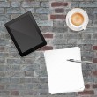 Paper Pen Coffee and Tablet PC - Stock Photo