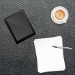 Paper Pen Coffee and Tablet PC — Stock Photo #13779179