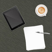 Paper Pen Coffee and Tablet PC — Stock Photo