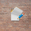 Paper note with pencil — Stock Photo