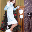 Royalty-Free Stock Photo: Snow-maiden showing 5 minutes remainig