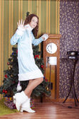 Snow-maiden showing 5 minutes remainig — Stock Photo