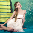 Beatifull teenage girl in vintage dress in studio — Stock Photo