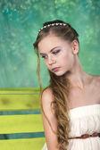 Beatifull teenage girl in vintage dress in studio — Stock Photo