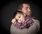 The hug- father and son. — Stock Photo