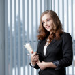 Business girl in modern office. - Stock Photo