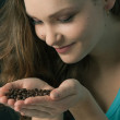Royalty-Free Stock Photo: Smelling coffee beans