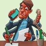 Comic cartoon of a man multitasking Comic cartoon of a man multitasking Comic cartoon of a man multitasking — Stock Photo