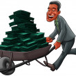 Business man carrying a cart with a lot of money — ストック写真
