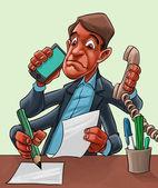 Komiksově kreslenou muž multitasking komiksově kreslenou muž multitasking komické karikatura člověka multitasking — Stock fotografie