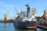 Bulk cargo ship under port crane — Stock Photo