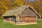 わらの屋根の古代枝編み細工品納屋 — ストック写真