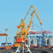 Cargo crane, train and coal — Stock Photo