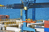 Port cargo crane and container — Stock Photo