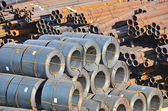 Stacked steel pipe — Stock Photo