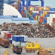 Stock Photo: Scrap metal, container and timber in port