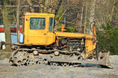 Bulldozer on road construction site — Stock Photo