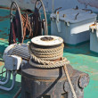 Old mooring bollard with winch — Stock Photo #19911283