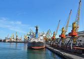 Bulk cargo ship and train under port crane — Stock Photo