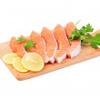 Stock Photo: Salmon steak with parsley and lemon