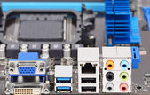 Connector of computer motherboard board — Stockfoto