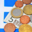 Earning in Greece concept with money and flag — Photo