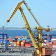 Stock Photo: Port cargo crane and container