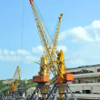 Stock Photo: Port cargo crane and train
