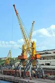Train et grue de chargement de port — Photo