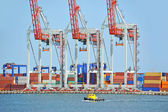 Container stack under crane bridge — Foto Stock