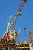 Concrete formwork and crane — Stockfoto