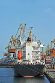 Bulk cargo ship under port crane — Foto Stock